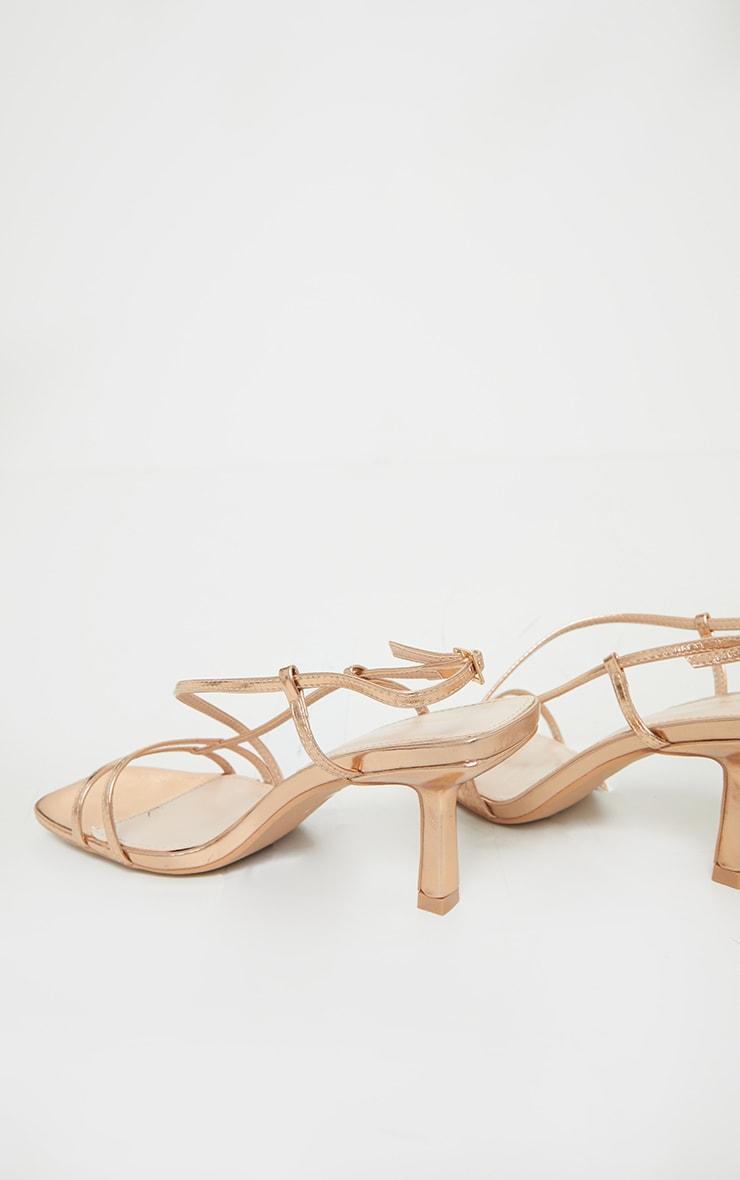 Rose Gold Low Heel Strappy Sandals 4