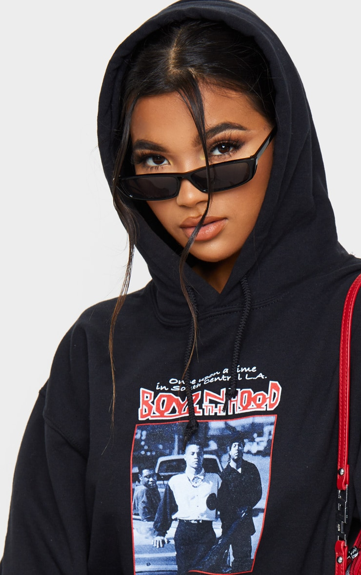 Black Slogan Boyz In The Hood Print Hoodie 4