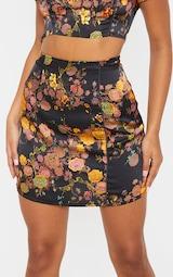 Black Print Satin A Line Skirt 6