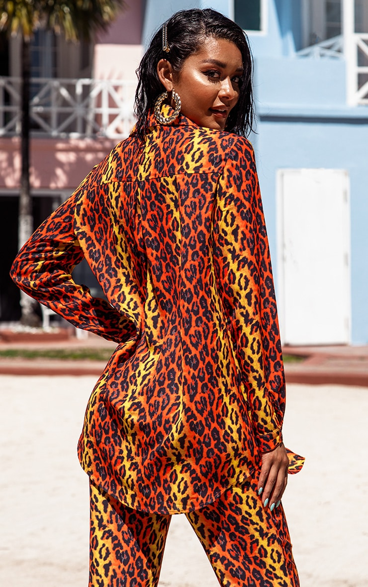 Orange Leopard Print Beach Shirt 2
