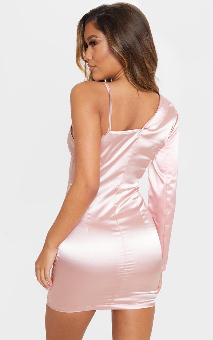 Blush Satin One Shoulder Blazer Dress 2