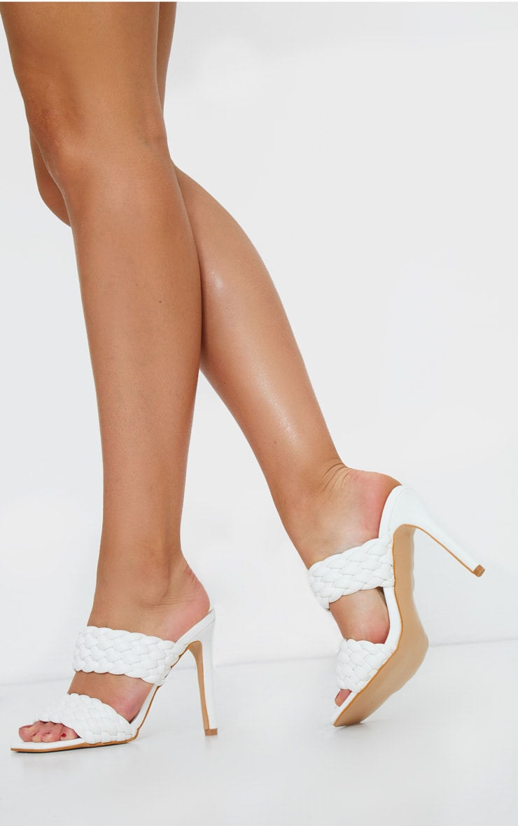 White PU Square Toe Quilted High Heel Mules 2