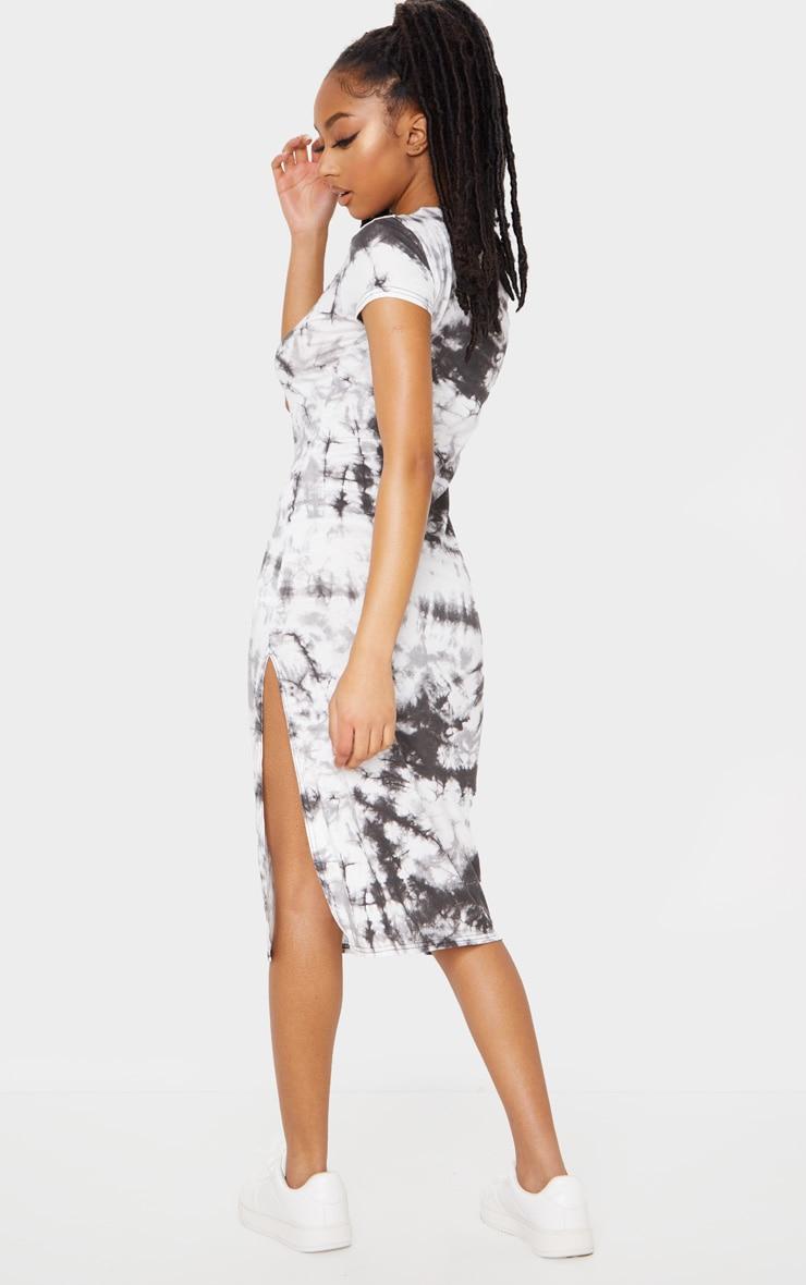 Black Tie Dye Print Cap Sleeve Split Front Midi Dress 2