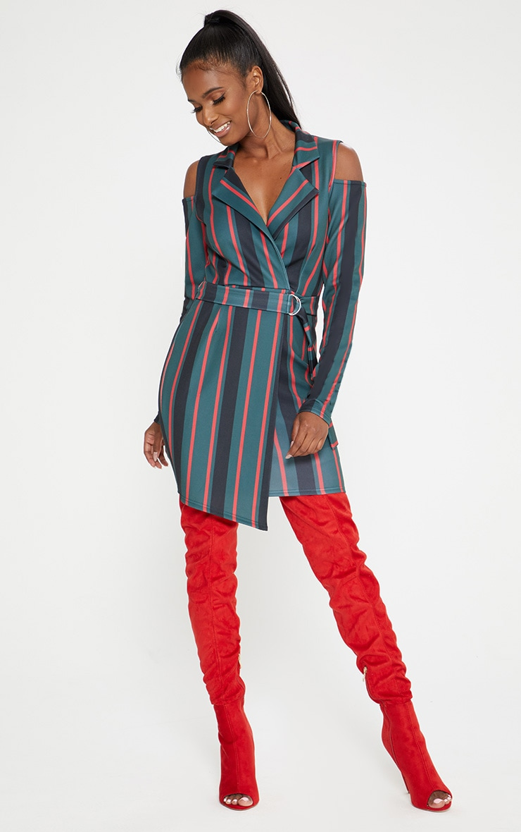 Emerald Green Cold Shoulder Long Sleeve Belt Detail Blazer Dress 4