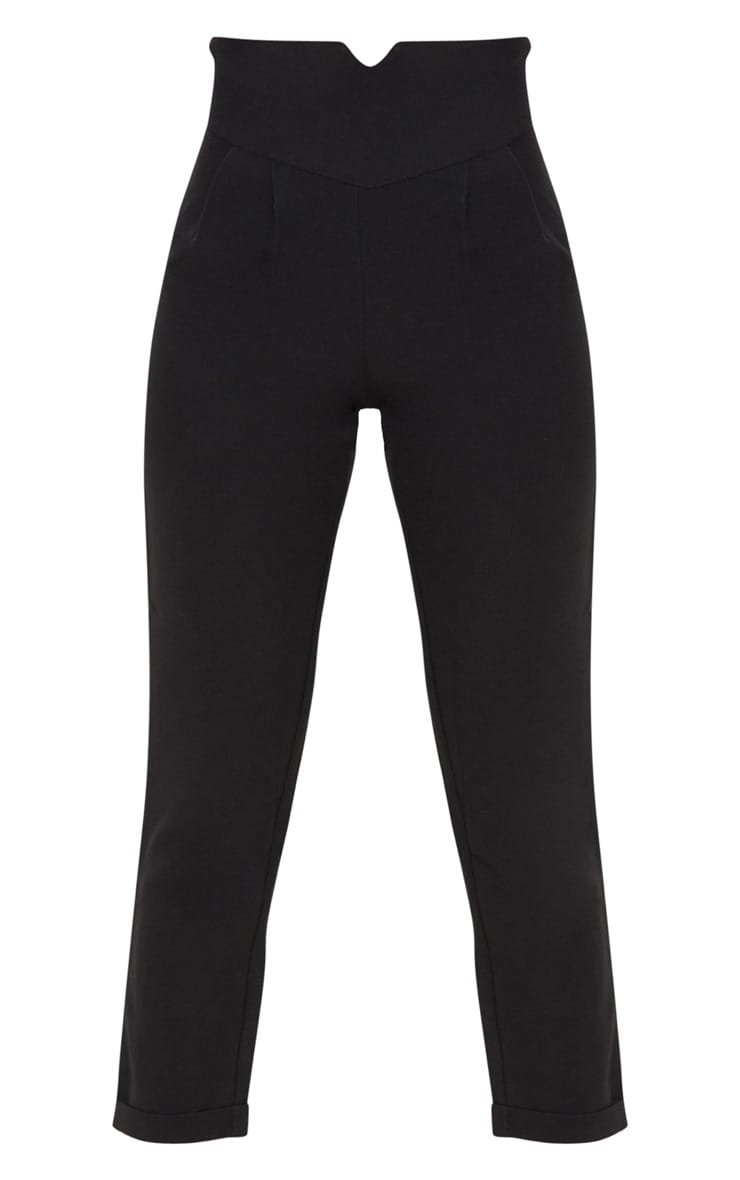 Petite Black High Waisted Tapered Trousers 3