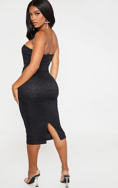 Shape Black Lace Mesh Stripe Bandeau Midi Dress