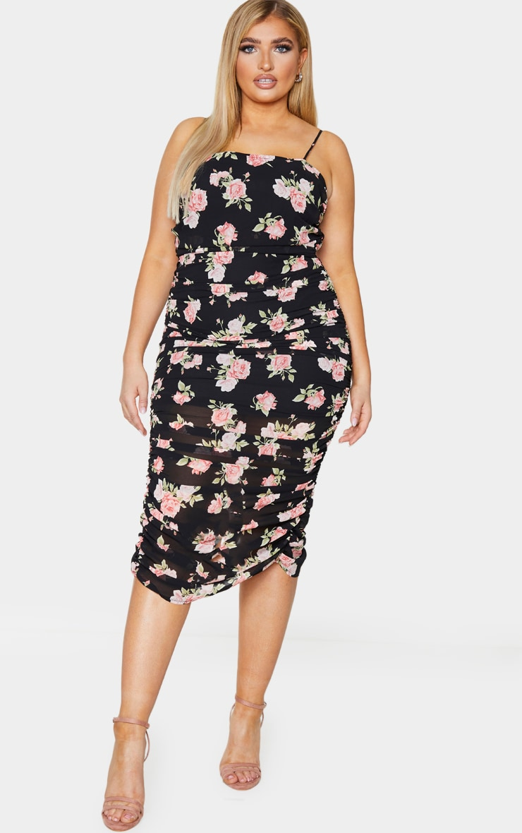 Plus Black Floral Ruching Strappy Midaxi Dress 1