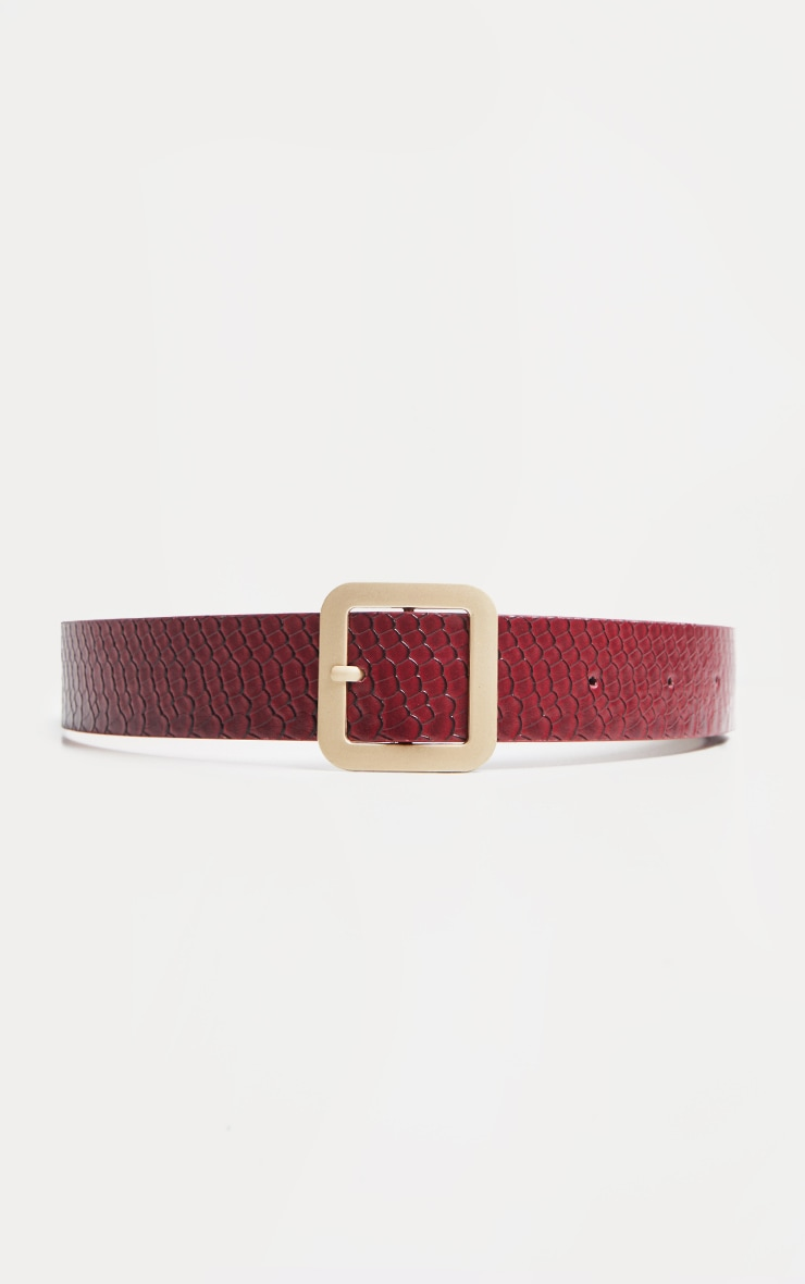 PRETTYLITTLETHING Logo Buckle Burgundy Croc Belt 4