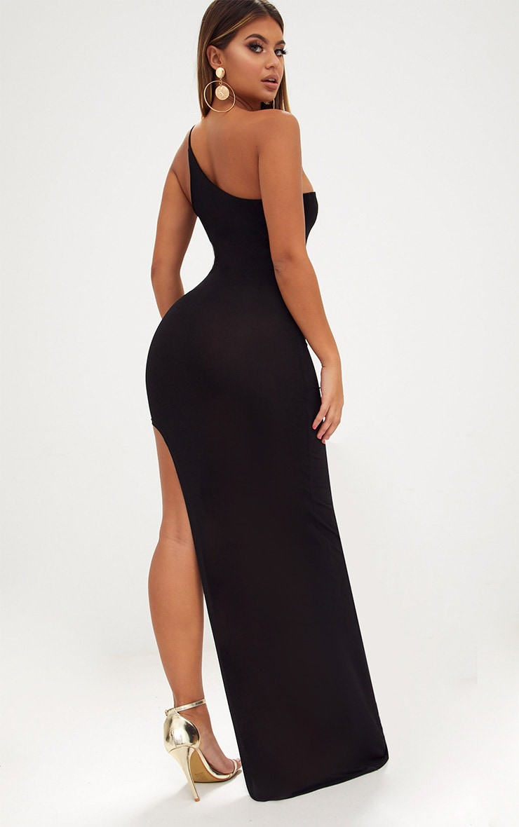 Black One Shoulder Asymmetric Maxi Dress 2