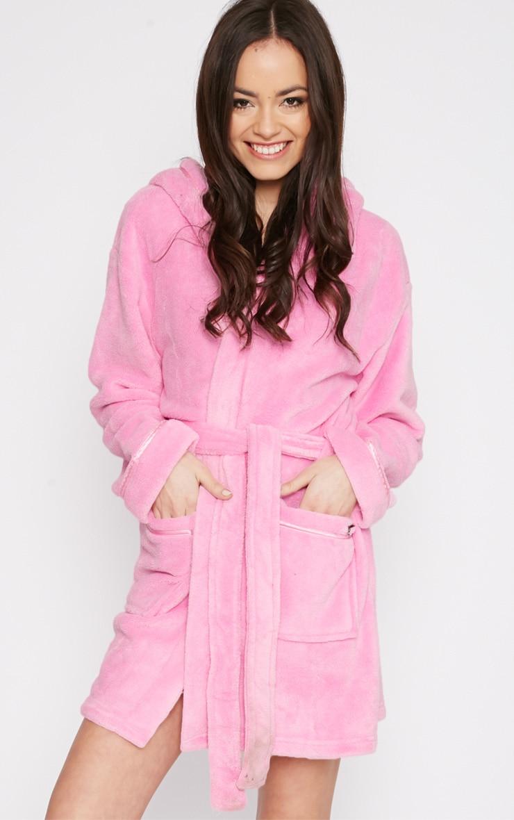 Erin Pink Fleece Dressing Gown 2