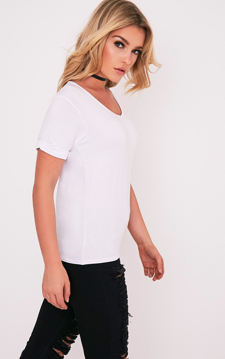 Basic White V Neck Oversized T-Shirt 5