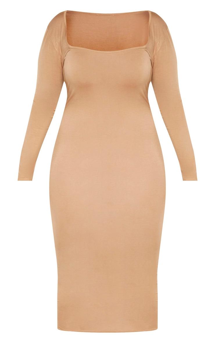 Plus Camel Jersey Long Sleeve Midi Dress 3