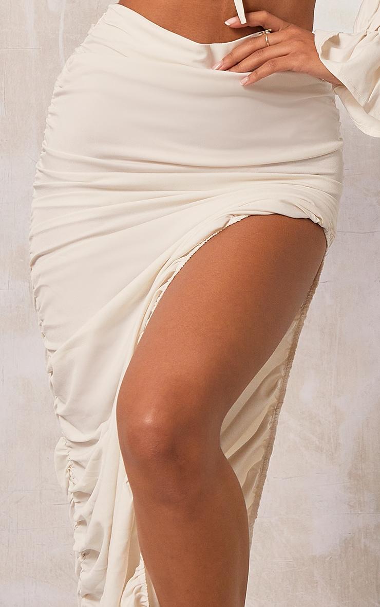 Cream Woven Ruched Side Detail Split Leg Midaxi Skirt 4