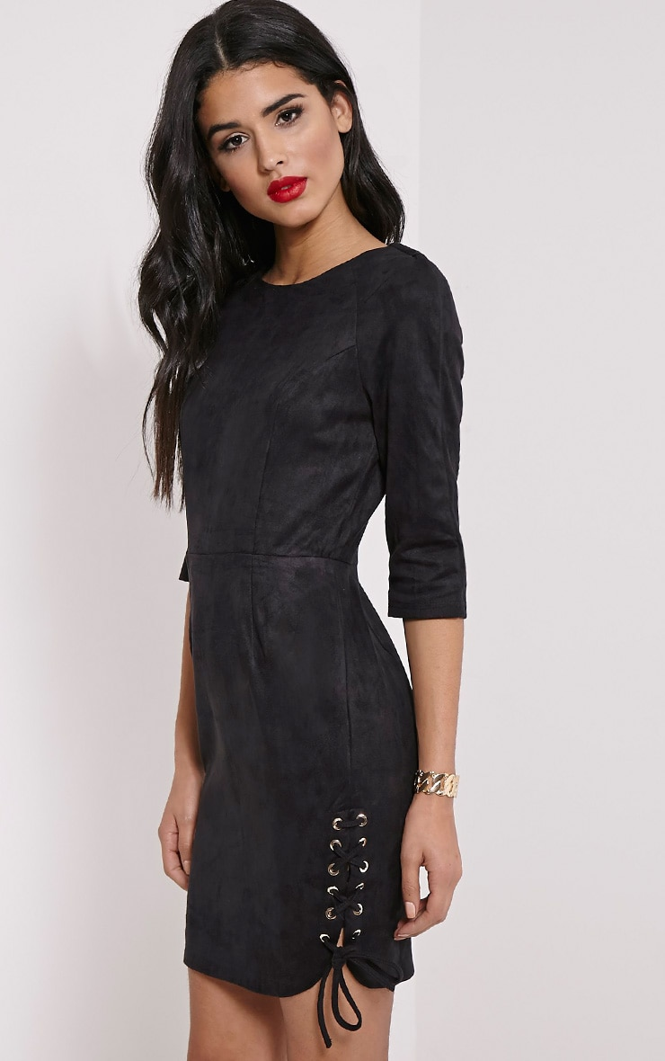 Brooke Black Lace Up Detail Suede Dress 1