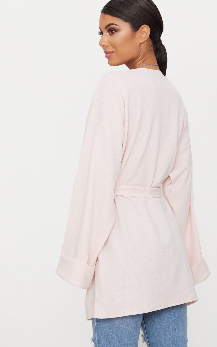 Nude Belted Oversized Sleeve Blazer 2