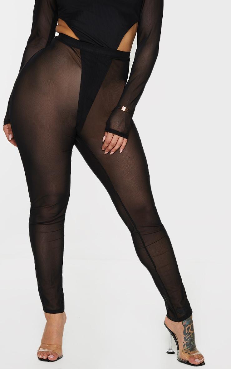 Shape Black Sheer Mesh Ruched Bum Leggings 2