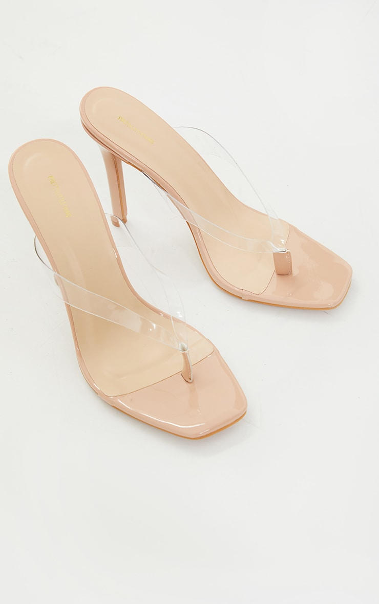 Clear Toe Thong Square Toe Heeled Sandals 3