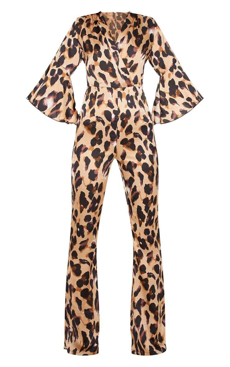 Tan Leopard Print Flared Sleeve Jumpsuit 3
