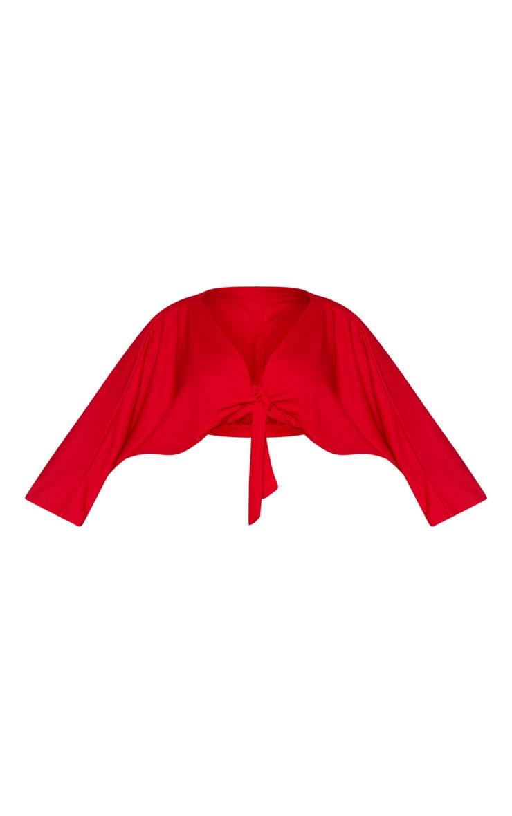 Plus Red Tie Detail Batwing Crop Top 3