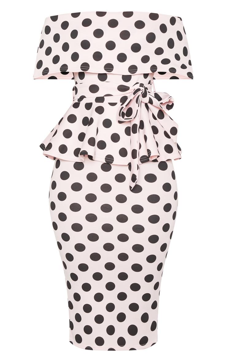 Pink Polka Dot Bardot Peplum Midi Dress 3