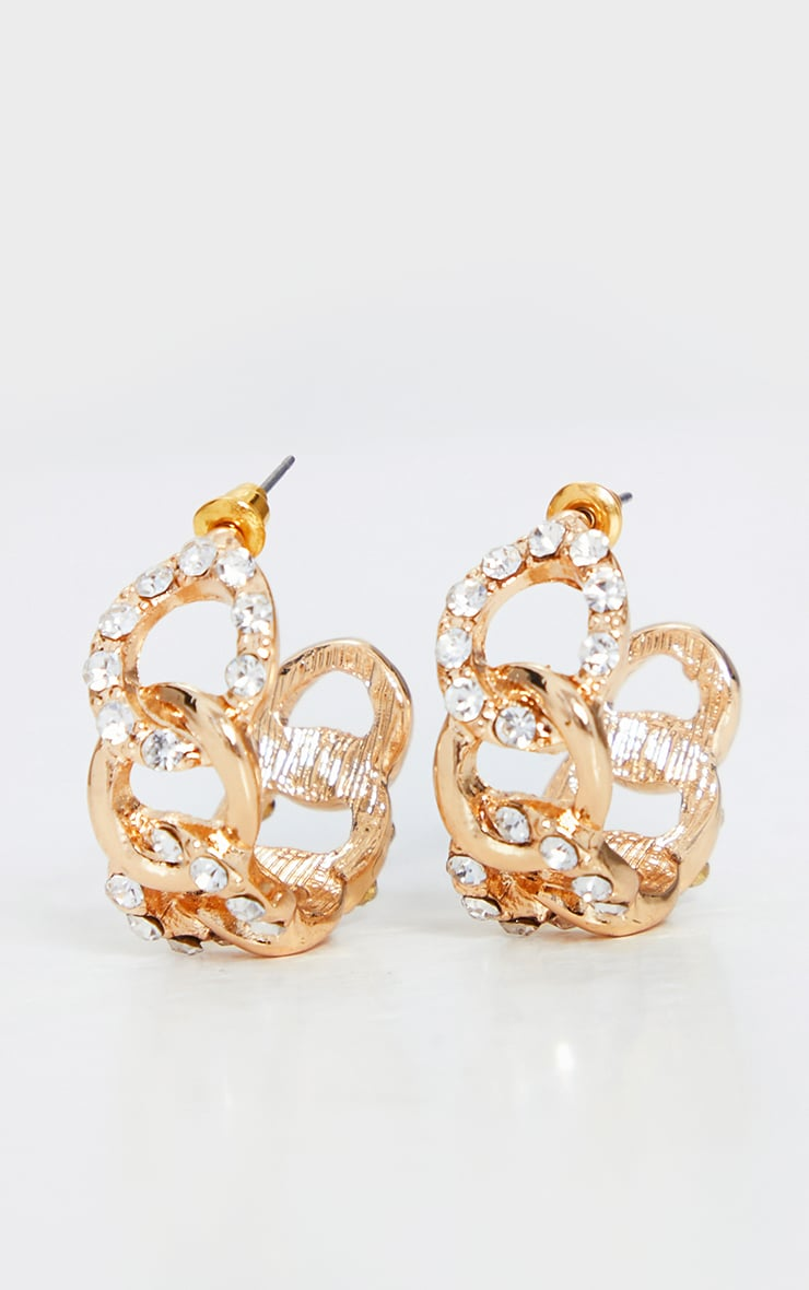 Gold Diamante Chain Hoop Earrings 2