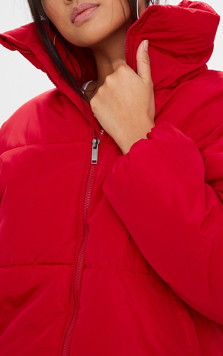 Red Cropped Puffer Jacket 5