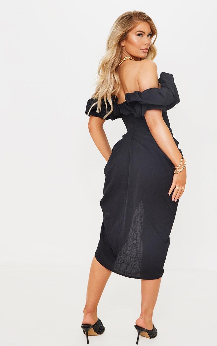 Black Textured Woven Frill Edge Draped Midi Dress 2