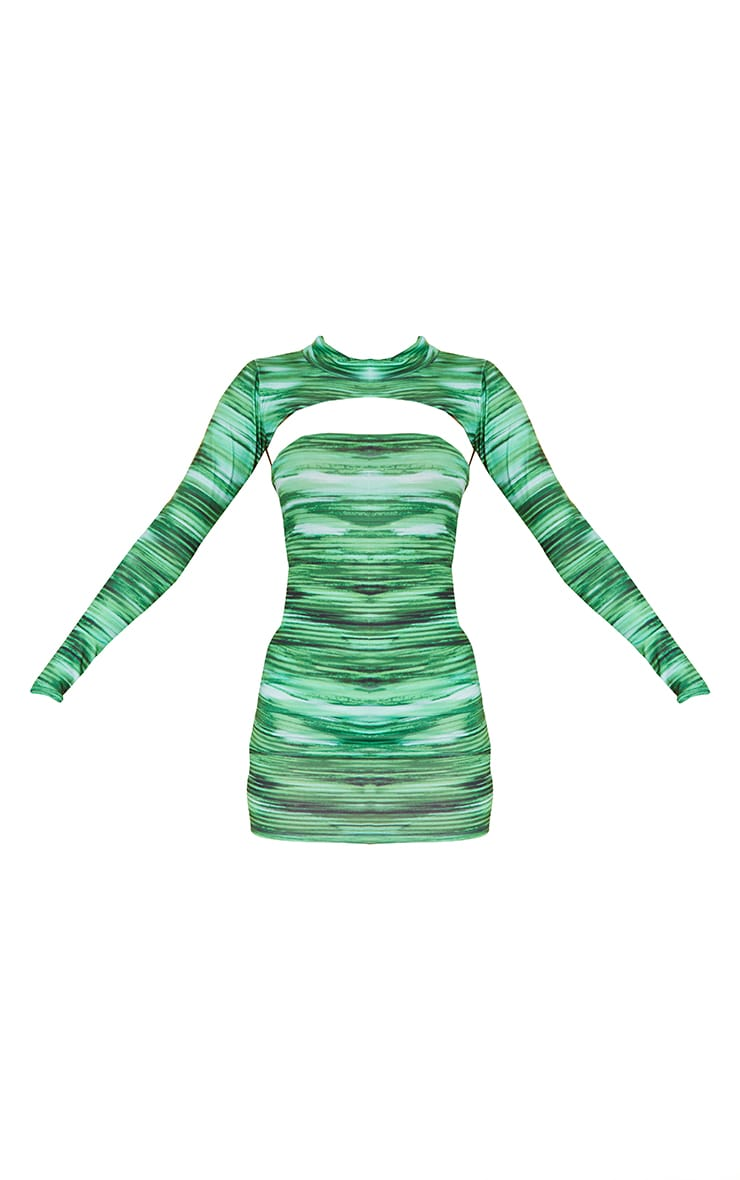 Bright Green Stripe Extreme Crop High Neck Top 5