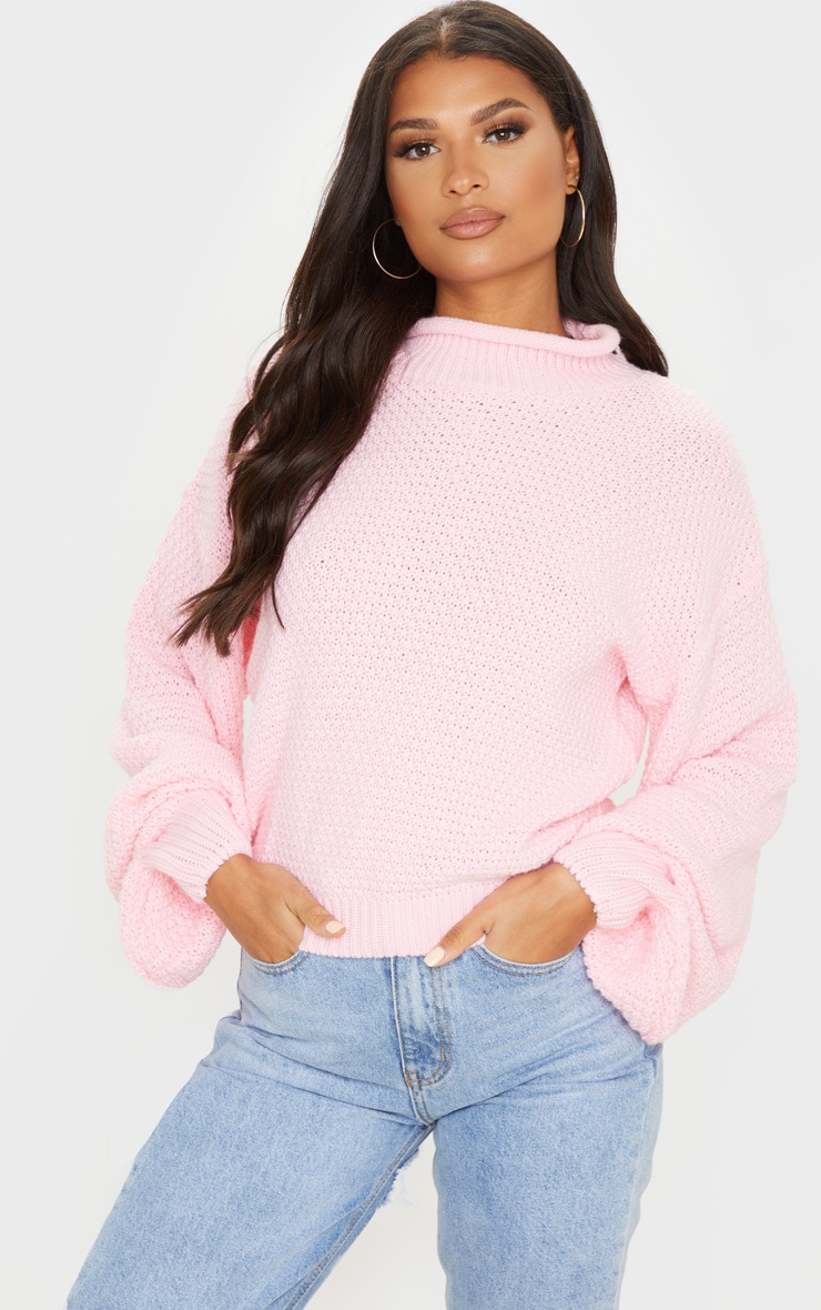 Baby Pink Textured Knit Roll Neck Sweater 1