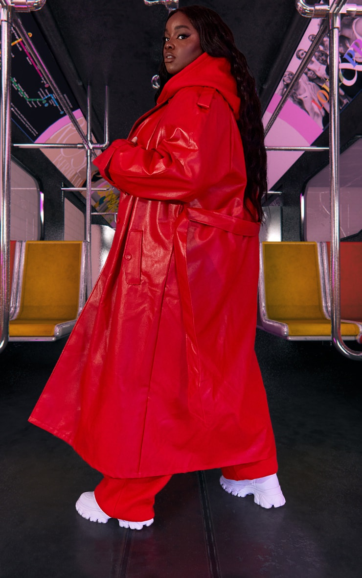 Plus Red Unisex PU Oversized Trench Coat 4