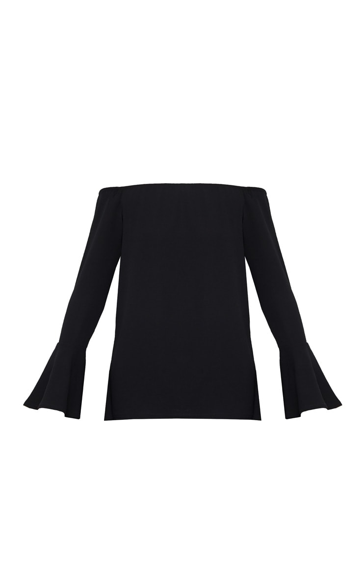 Black Chiffon Long Sleeve Bardot Top 3
