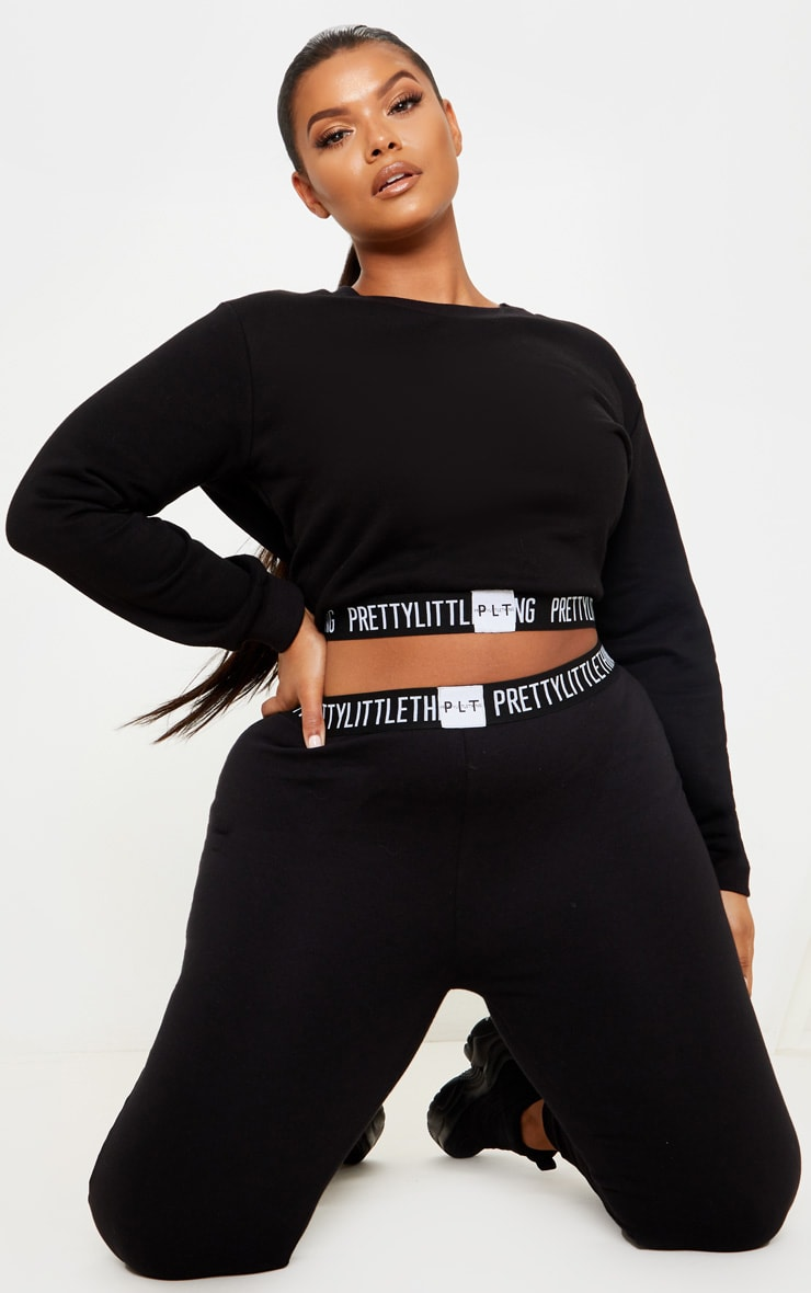 PRETTYLITTLETHING Plus Black Lounge Sweater 4