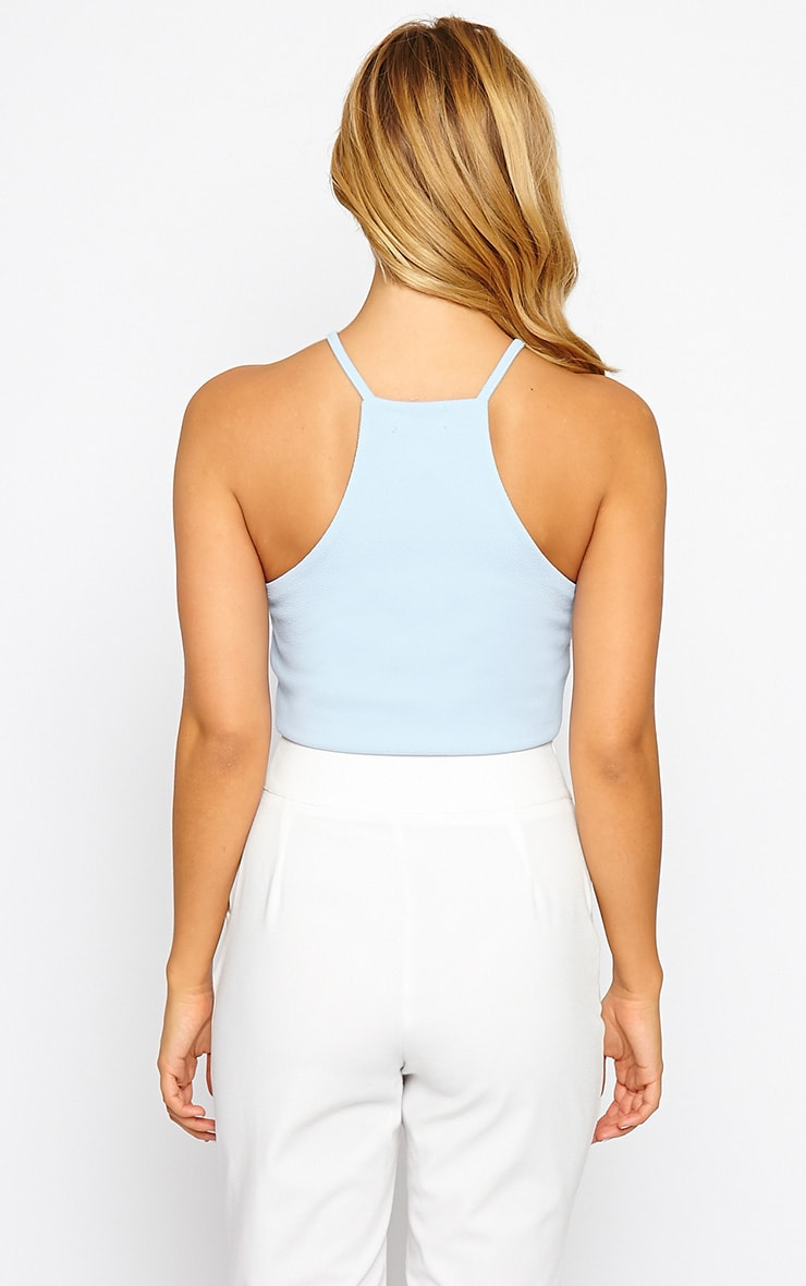 Basic Powder Blue Crepe Racer Crop Top 2
