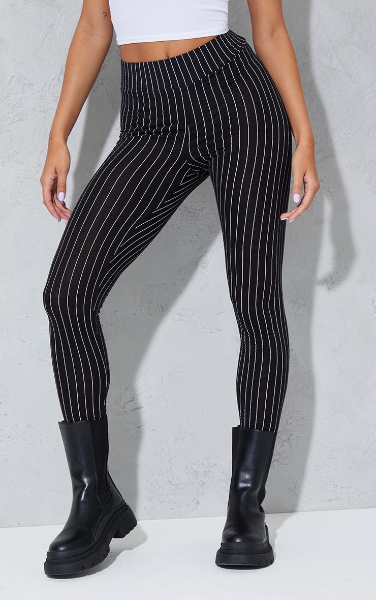 Black Pinstripe High Waisted Leggings 2