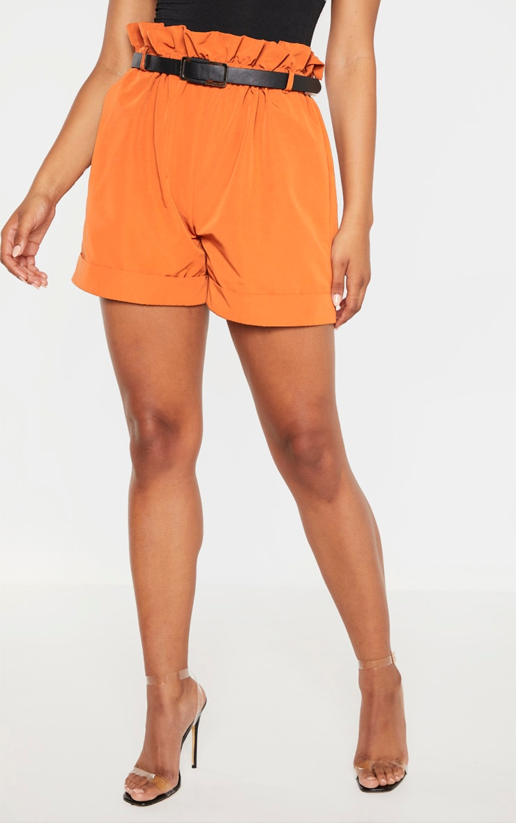 Tall Orange High Waist Paper Bag Belted Shorts 2