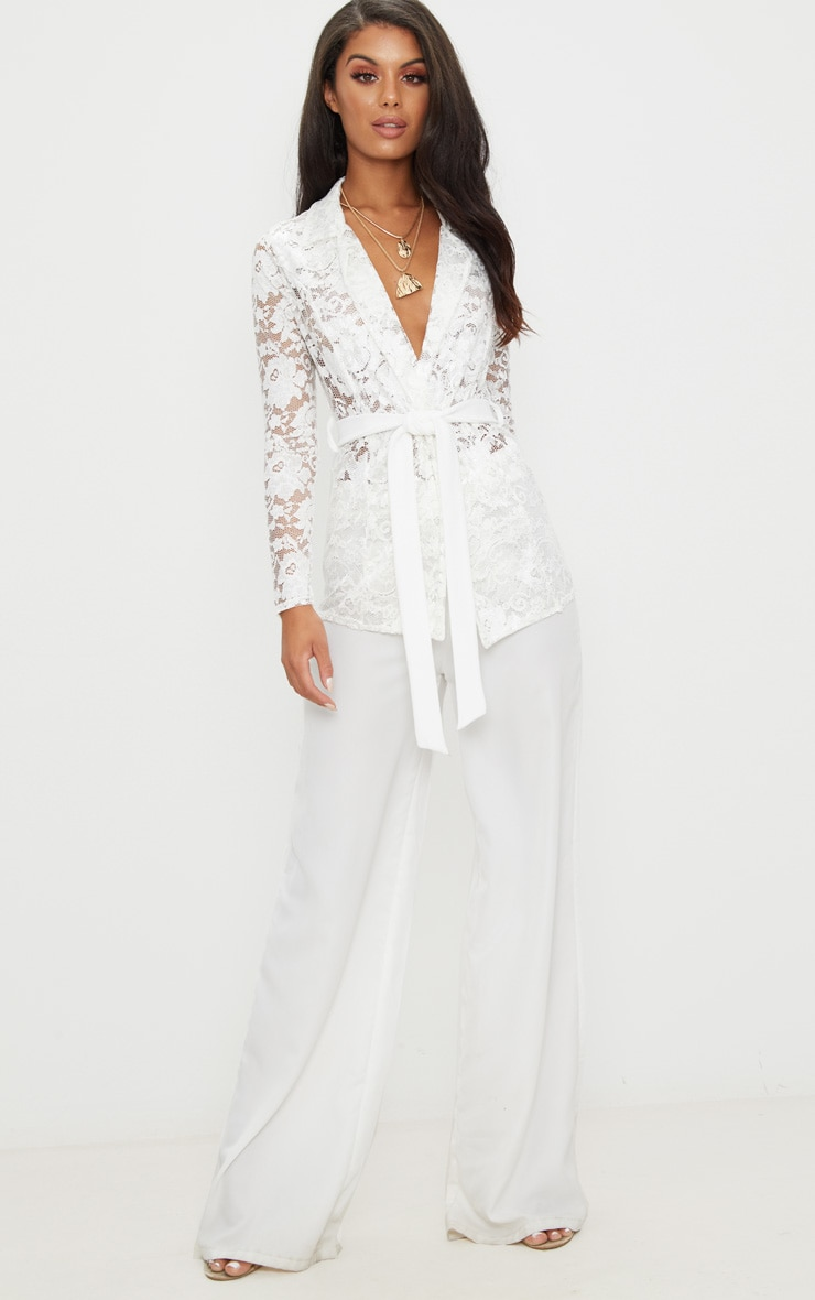 White Lace Belted Blazer 4