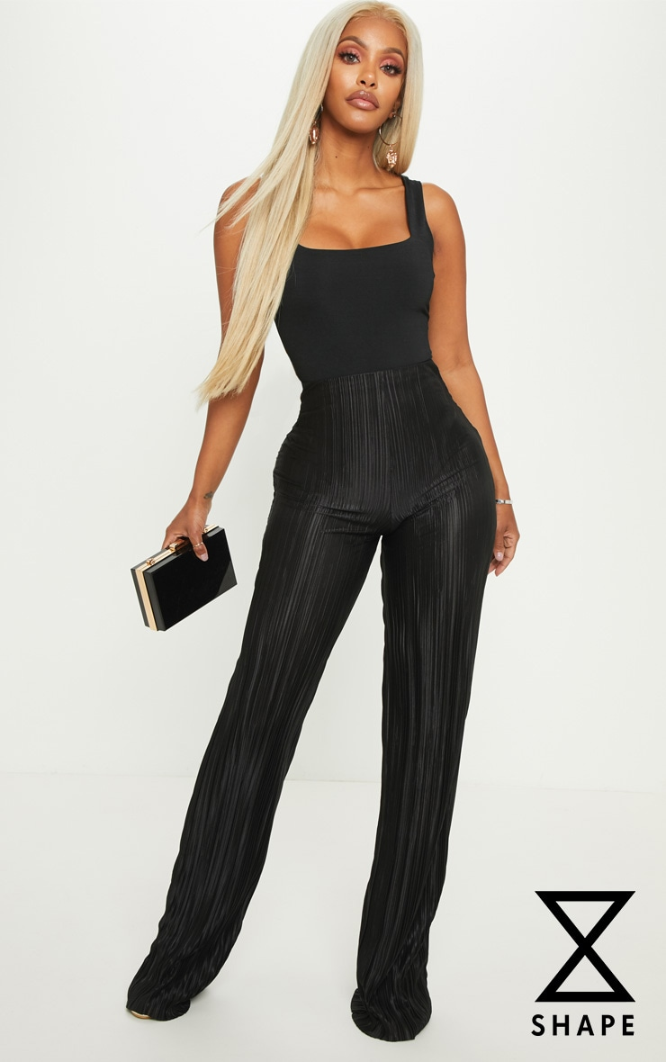 Shape Black Plisse Wide Leg Trouser