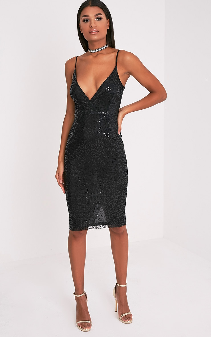 Betsie Black Strappy Sequin Midi Dress 4
