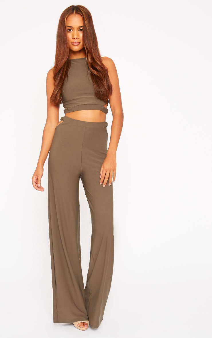 Elphina Khaki Cut Out Palazzo Trousers 1