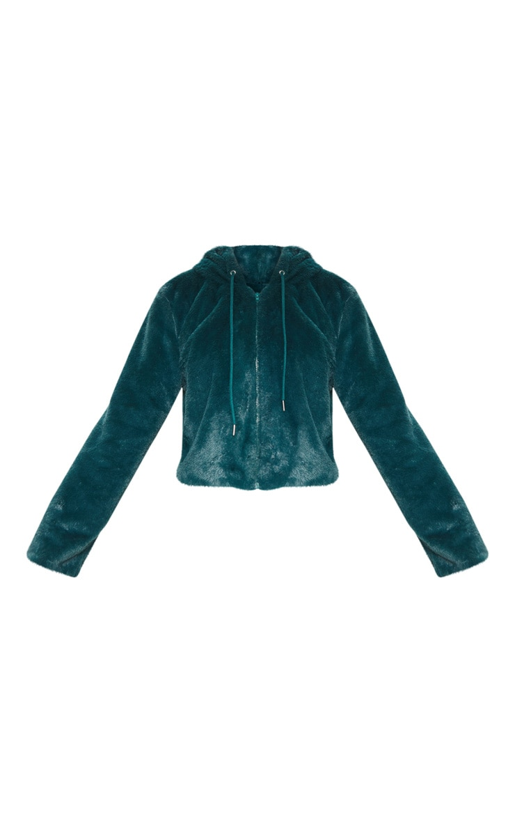 Emerald Green Faux Fur Cropped Hooded Jacket 3