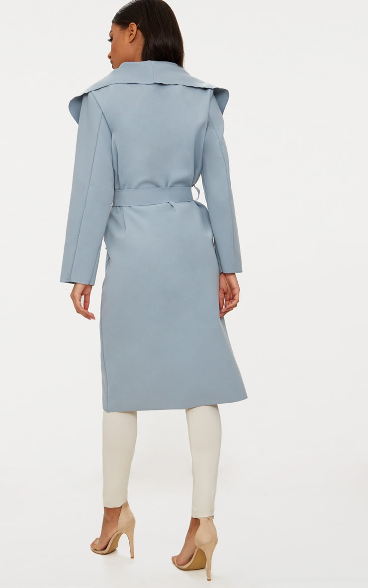 Veronica Powder Blue Oversized Waterfall Belt Coat 2