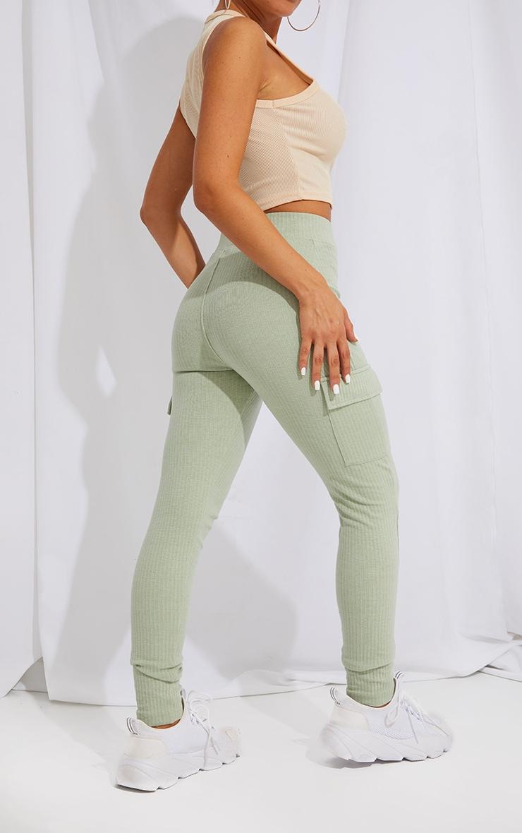 Sage Green Pocket Detail Heavy Ribbed Leggings 3