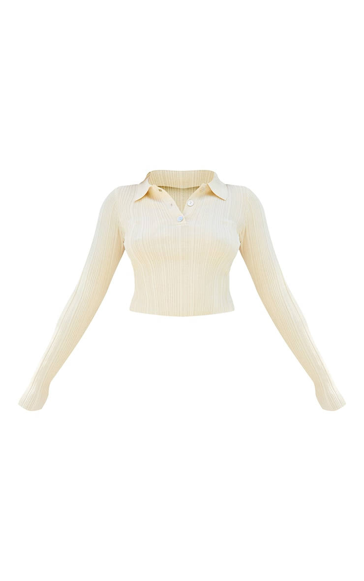 Petite Stone Sheer Knit Button Up Collared Top 5