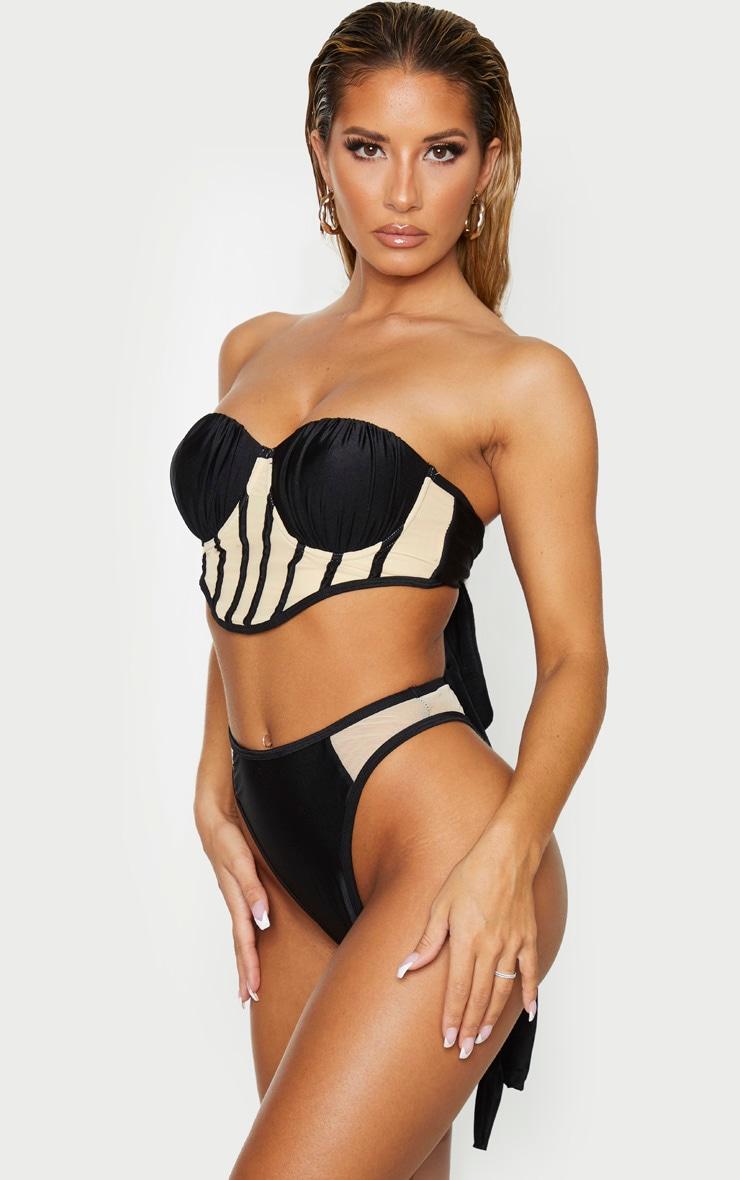 Black Mesh Detail High Waisted Bikini Bottoms 2