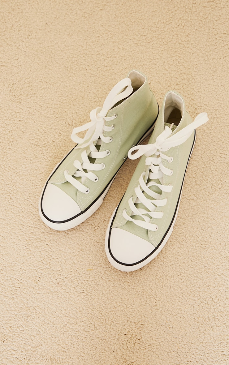 Sage Green Woven Lace Up Ankle Sneakers 3