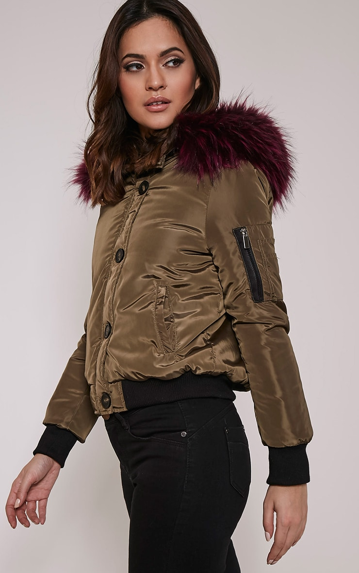 Lara Purple Premium Faux Fur Lined Crop Parka 4