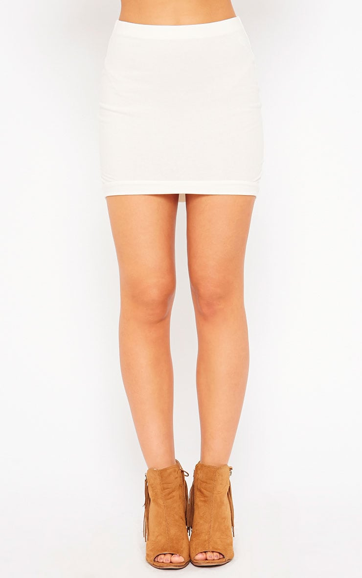 Phoenix Cream Curved Hem Mini Skirt 2