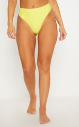 Yellow High Waisted Cheeky Bum Bikini Bottom 2