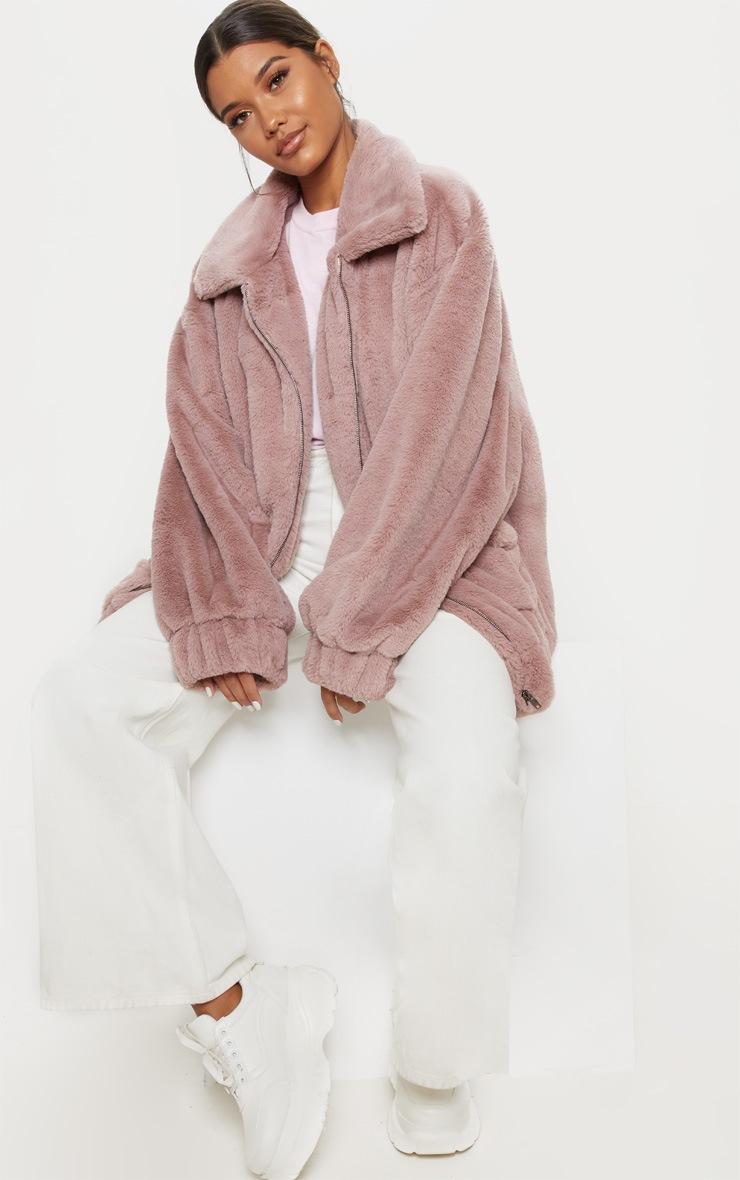 Rose Pocket Front Faux Fur Coat 4