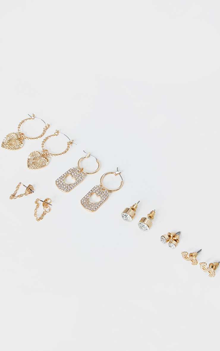 Gold Diamante Multi Pack Earrings 1
